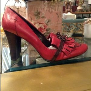 Tommy Hilfiger Burgundy/Red Leather Heels, Size 10